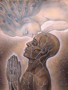 Makes me feel like my higher self is blessing me. Art by Alex Grey Alex Grey, Alex Gray Art, Art Visionnaire, Twin Flame Love, Twin Flames, Psy Art, Visionary Art, Tantra, Psychedelic Art