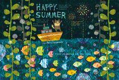 The fireworks light up the summer night sky.  Fish swimming in the sea.  SORAHANA's Happy Summer!  暑中お見舞い申し上げます。  by Megumi Inoue.  http://sorahana.ciao.jp/