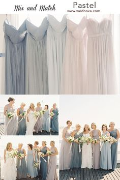 Dazzling Wedding Dresses The Latest Trends And Ideas. Spectacular Wedding Dresses The Latest Trends And Ideas. Dusty Blue Bridesmaid Dresses, Wedding Bridesmaids, Bridesmaid Dresses Mismatched Pastel, Bridesmaid Dresses Different Colors, Pastel Dresses, Beautiful Bridesmaid Dresses, Bridesmaid Outfit, Western Wedding Dresses, The Dress