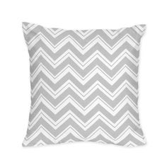 Zig Zag Grey and White Collection Decorative Pillow - Print