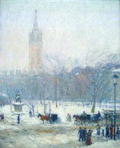 Madison Square - Snowstorm - Childe Hassam