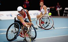 Lucy Shuker and Jordanne Whiley of Great Britain compete in the Women's Doubles Wheelchair Tennis Quarterfinal match against Katharina Kruger and Sabine Ellerbrock of Germany. The British pair won the match 6-3, 6-3  Picture: GETTY IMAGES