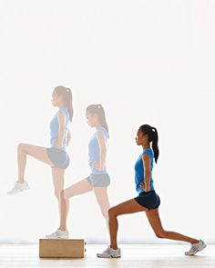 http://www.wholeliving.com/136322/get-fit-15-minutes#/78253        Lower Body: Step-Up Backward Lunge     Step forward into a lunge on the left leg, then step forward (or up onto a stair) with the right. Pull the left knee up and hold for a few seconds. Lower the left foot (off the step), then step back with the right leg into a deep lunge. Alternate (10 reps per leg) for a total of about 1 minute.