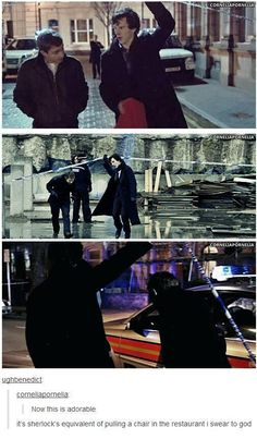 I love how John's hands are always in his pockets because he knows Sherlock would lift the tape for him