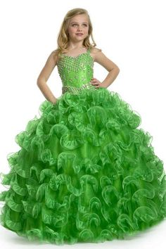 Fashion Color Organza Tiered Green Flower Girl Dresses