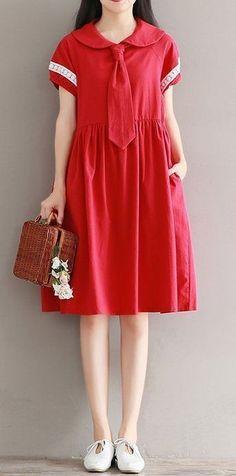 Women dress loose fit pocket dress retro round collar tie short sleeve plus size #Unbranded #dress #Casual