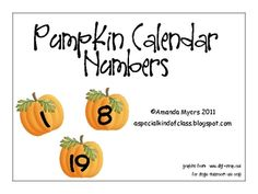 Perfect for your October calendar, the numbers 1 to 31 in pretty pumpkins....