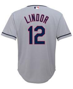 Majestic Francisco Lindor Cleveland Indians Player Replica Cb Jersey, Big Boys (8-20) - Gray XL