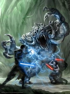 the-revanite-leader:  The Jedi Galen Marek (Starkiller) fights Shaak Ti's former apprentice Maris Brood and her Dark Side-enhanced Bull Rancor on the Imperial-controlled planet Felucia.