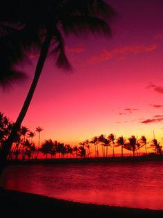 Sunset at Anaehoomalu on the Kohala Coast, Waikoloa, Hawaii (Big Island), Hawaii, USA Photographic P Big Island Hawaii, Island Beach, Sunset Pictures, Beach Pictures, Art Pictures, Beautiful Sunset, Beautiful Beaches, Sunset Beach Hawaii, Hawaii Usa