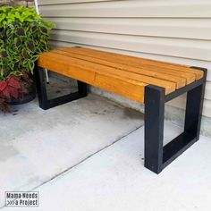 Simple bench plans only require five and hours! This modern bench is a great beginner woodworking project for super cheap outdoor seating. Wood Bench Plans, 2x4 Bench, Diy Wood Bench, Palet Bench, Wood Benches, Planter Bench, Diy Outdoor Furniture, Diy Furniture, Concrete Furniture