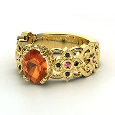 Oval Fire Opal 14K Yellow Gold Ring with Diamond & Diamond  | Mantilla Ring | Gemvara