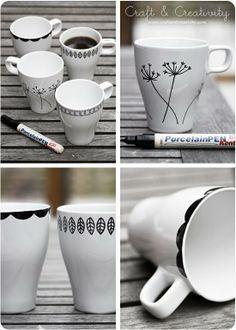 48 Ideas Diy Gifts Crafts Sharpie Mugs Sharpie Projects, Sharpie Crafts, Diy Projects To Try, Sharpie Mugs, Sharpies, Diy Becher, Porcelain Pens, Fine Porcelain, Design Your Own Mug