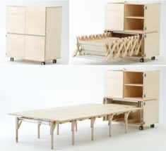 """Nobuhiro Teshima designed a low-height, highly portable dining table that allows floor dining. This exclusive piece of furniture called """"Mobile Dining"""" is ideal for tiny homes and can accommodate 8 people. Folding Furniture, Space Saving Furniture, Cool Furniture, Furniture Design, Table Furniture, Dining Table, Dining Cabinet, Dining Room, Bricolage"""
