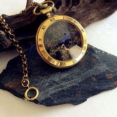 (3) Antiqued Gold Pocket Watch Copper Steampunk Winding Mechanical pocket…