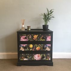 Upcycled Vintage Chest of Drawers, Hand Painted in Graphite, Decoupaged in Dark Floral Print, 3 Drawers Solid Pine Storage Painted Drawers, Painted Chest, Diy Drawers, Hand Painted, Decoupage Drawers, Vintage Chest Of Drawers, Small Chest Of Drawers, Chest Of Drawers Upcycle, Upcycled Furniture