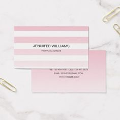 Modern Pink Stripes Minimalist Business Cards - toddler christmas gift idea toddlers merry xmas gifts present unique
