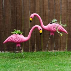 Add some kitschy fun to your home with these easy to make plastic pink flamingo planters.