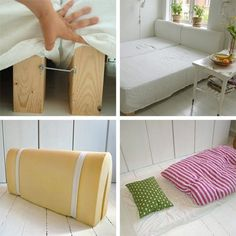 Here's a problem that most of us have faced at some point or another: How do you fit in a bed, a big couch, and a guest room in an apartment? We've touched on it a bit before when we were lamenting on our lack of a guest bedroom, but here's an innovative solution from Danish textile designer/potter Antero Kjaer: a couch/bed made with two twin mattresses, hooks, and foam. [ Photos from MettesPotteriDanmark blog ]
