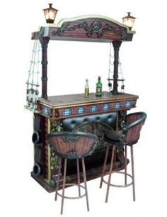 Pirate bar - would love to recreate this. But bigger. Much bigger. And with shelves behind it. And I'd age it and add more strands of pearls and shiny things. Bar Furniture For Sale, Home Bar Furniture, Cabinet Furniture, Furniture Ideas, Furniture Outlet, Discount Furniture, Kitchen Furniture, Decoration Pirate, Outside Bars