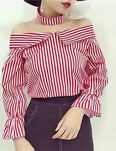 Women sexy blouse Off shoulder top striped shirt with choker Long sleeve blouse shirt women tops 2017 summer chemise femme tops Fashion Line, Work Fashion, Cute Fashion, Fashion Outfits, Fashion Skirts, Women's Fashion, Vetement Fashion, Spring Shirts, Stylish Tops
