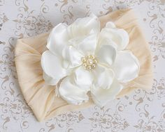 Classy Baby Ivory Angelica Flower Infant Headband