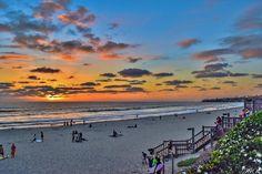 Looking North at sunset, PB, San Diego  Photo by Julee Vaughan.