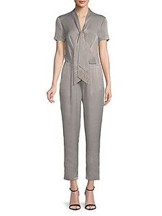 261774c1fb H Halston Short Sleeve Tie-Neck Jumpsuit · JumpsuitOverallsMonkeyJumpsuits