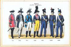 Plate 5: Military college, 1714-1849 by Leo Ignaz von Stadlinger - Geschichte des württembergischen Kriegswesens - Uniforms of the troops of Württemberg