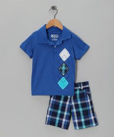Take a look at this Blue Plaid Polo & Shorts - Infant & Toddler by BOYZ WEAR on #zulily today!