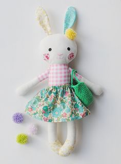 Betsy Stuffed easter bunny, rabbit, rag doll bunny, stuffed animal, Liberty of London bunny, pompon doll