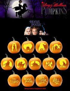 Hocus Pocus Pumpkin Carving Patterns - Printable PDF - Emma Lee home Disney Pumpkin Carving, Halloween Pumpkin Carving Stencils, Scary Pumpkin Carving, Halloween Pumpkin Designs, Scary Halloween Pumpkins, Amazing Pumpkin Carving, Pumpkin Carving Templates, Halloween Labels, Pumpkin Stencil