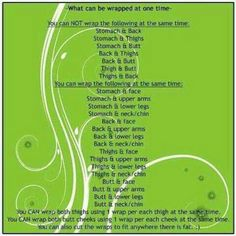 List of what you can wrap and what you can and can't wrap at the same time.  Email me for more information or with any questions mshort0819@gmail.com or check out my website shellyswraps.com