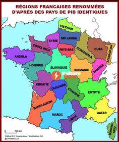 Régions françaises renommés en fonction de pays de PIB identiques  #pib #rich