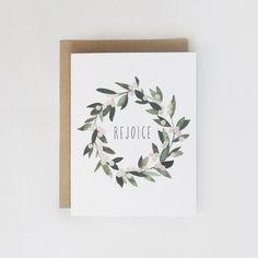Rejoice Mistletoe Wreath Card 1pc by KelliMurrayArt on Etsy