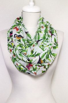 Sparrow Birds Pattern Chiffon Infinity scarf, Circle scarf, Long Scarf, spring - fall - winter - summer fashion