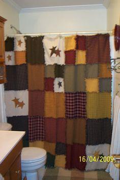 Homespun Rag Shower Curtain Patchwork (make One For Living Room/kitchen)