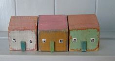 using upcycled wood medium houses £6,50 each painted in chalk paint custom orders welcome. made by Kittiwake Design owned by Lynda Marwood