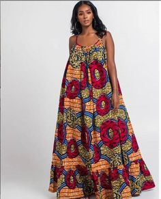 Thanks for stopping by my store! An Ankara sleeveless maxi costume made from high quality Ankara print to make you look extraordinarily elegant. cotton and doesn't fade Please word that it may be sewn[. Long African Dresses, Latest African Fashion Dresses, African Print Dresses, African Print Fashion, African Prints, African Jumpsuit, Moda Afro, Shweshwe Dresses, Ankara Dress
