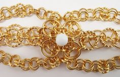 Gold and White Chainmaille Bracelet by AndrassidyDesigns on Etsy