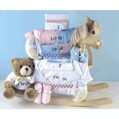Stork twin basket 14000 personalized baby gifts pinterest you are sure to find adorable twin baby gift ideas without breaking the bank rocking horse negle Gallery