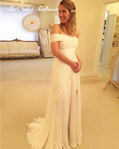 Boho Goddess Off Shoulder A-Line Beach Wedding Gown