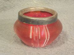 Vintage Red Cranberry Rippled Glass OPEN SALT DIP CELLAR DISH