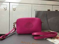 2015 Spring Summer Mulberry Blossom Pochette with Strap hotpink Calf Nappa