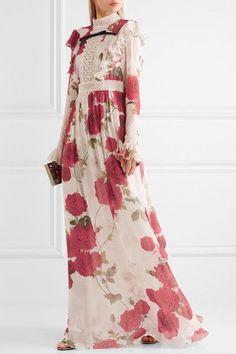 Giambattista Valli | Lace-paneled floral-print silk-chiffon gown | NET-A-PORTER.COM