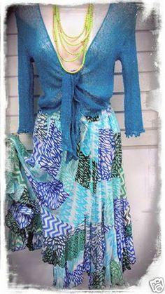 BOHO HIPPY CHIC SALE Ladies Patxhwork Hanky Hem Gypsy Whimsical Skirt Small- Med