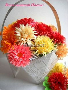 Master class Handicraft product packaging Birthday March 8 start of the school year Easter Quilling Origami Easter basket origami flowers + ...