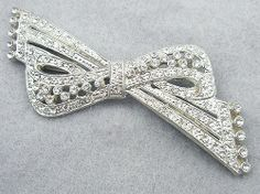 Art Deco Pot Metal Rhinestone Bow Brooch - Garden Party Collection Vintage Jewelry