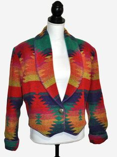 Rhonda Stark Blazer Jacket Aztec Southwest Indian Blanket Vintage Womens Size L
