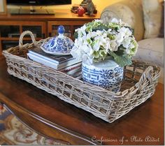 Pottery Barn Inspired Rustic Coffee Table Tray... Love this vignette with the blue and white <3